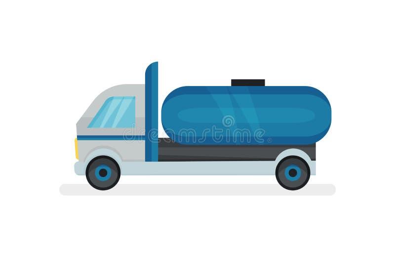 Camion avec le grand réservoir d'eau bleue Machine lourde avec le conteneur pour des liquides Transport urbain Icône plate de vec illustration de vecteur