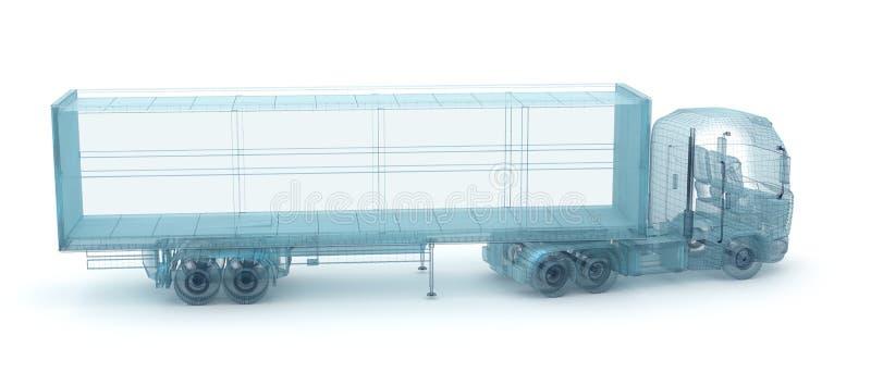 Camion avec le récipient de cargaison, modèle de fil illustration stock