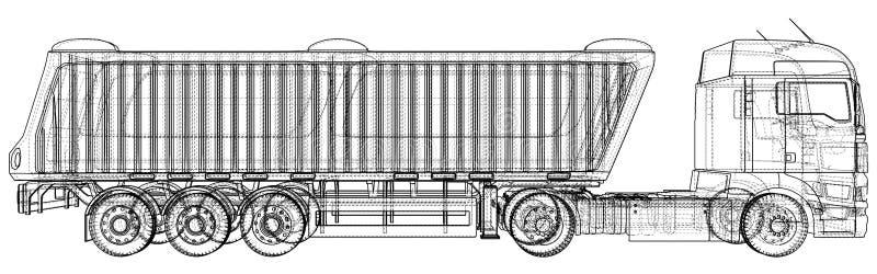 Camion avec le vecteur de remorque D'isolement sur le blanc Maquette de véhicule Illustration créée de 3d Fil-cadre illustration stock