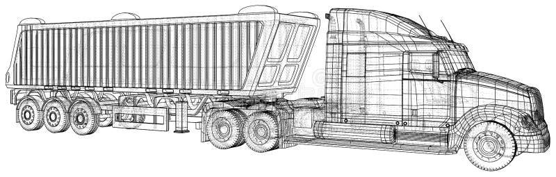 Camion avec le vecteur de remorque D'isolement sur le blanc Maquette de véhicule Illustration créée de 3d Fil-cadre illustration de vecteur