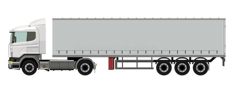 Camion bianco con un rimorchio royalty illustrazione gratis