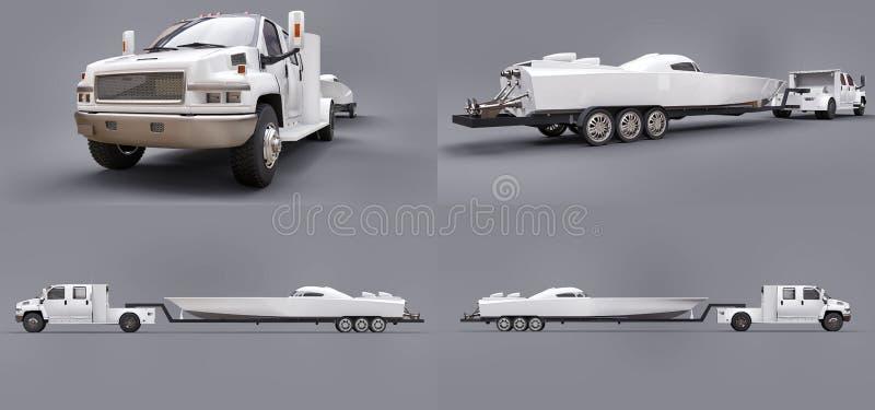 Camion bianco stabilito con un rimorchio per il trasporto della barca di corsa su un fondo grigio rappresentazione 3d illustrazione di stock