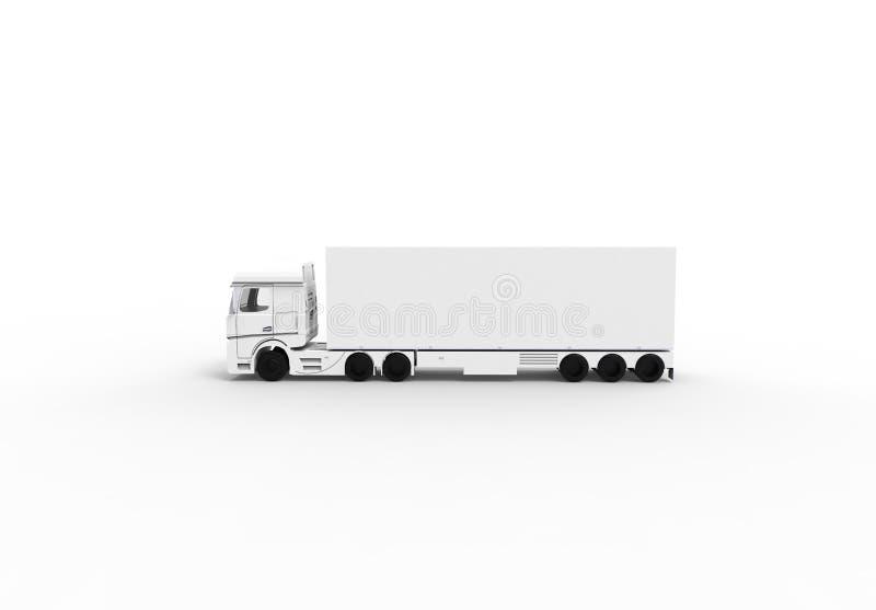 Camion blanc avec la remorque isoalted illustration de vecteur