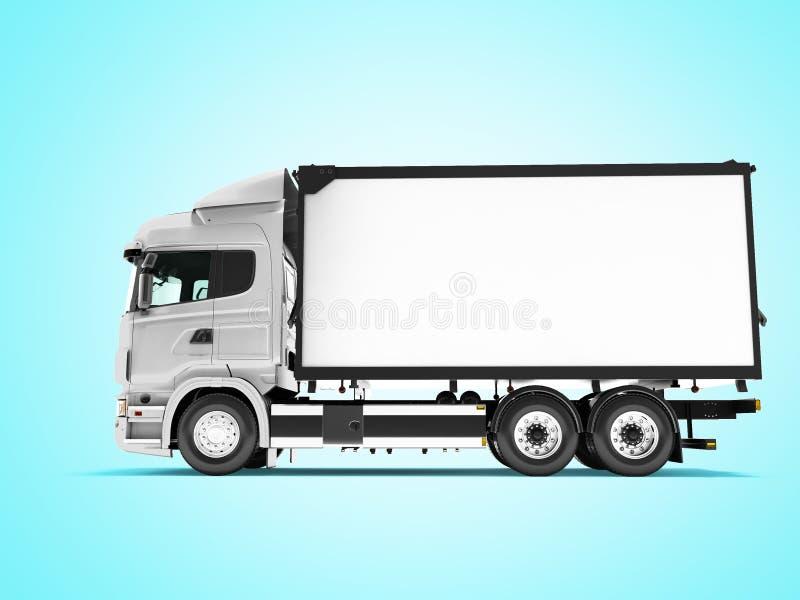 Camion blanc avec la vue de côté d'isolement par remorque 3d rendre sur le fond bleu avec l'ombre illustration de vecteur