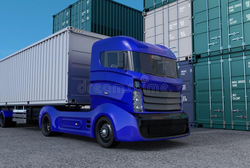 Camion bleu dans le port de récipient illustration libre de droits