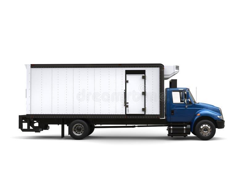 Camion bleu de réfrigérateur - vue de côté illustration libre de droits