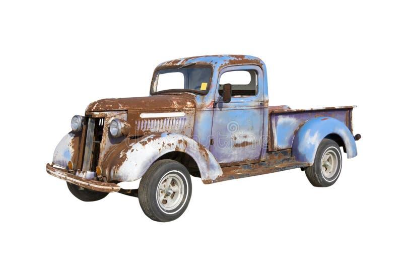 Camion blu arrugginito immagini stock libere da diritti