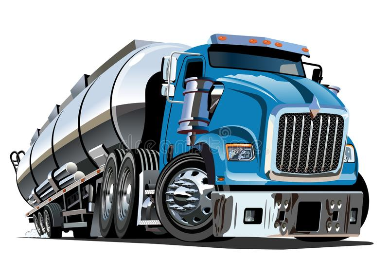 Camion cisterna dei semi del fumetto isolato su fondo bianco illustrazione di stock