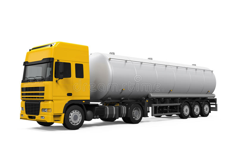 Camion-citerne aspirateur jaune de carburant illustration stock