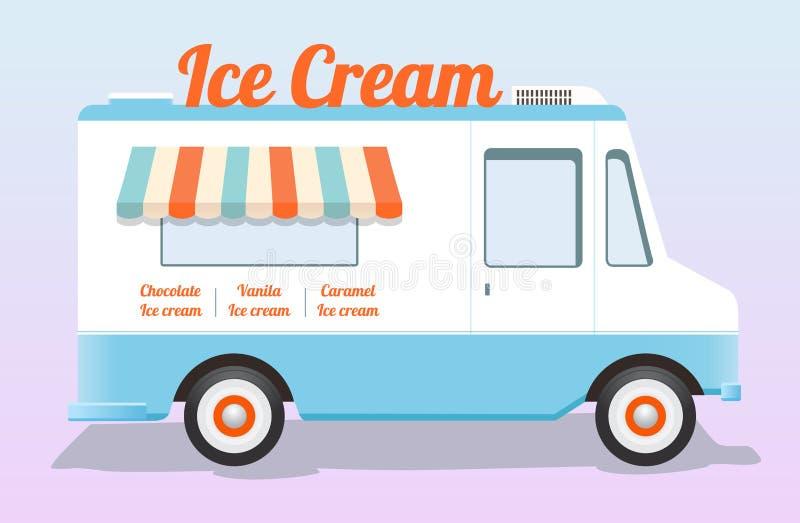 Camion coloré de crème glacée  illustration de vecteur