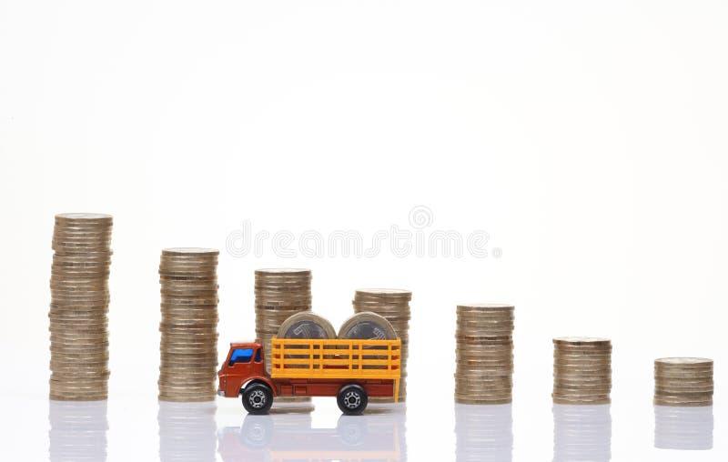 Camion con le monete fotografia stock