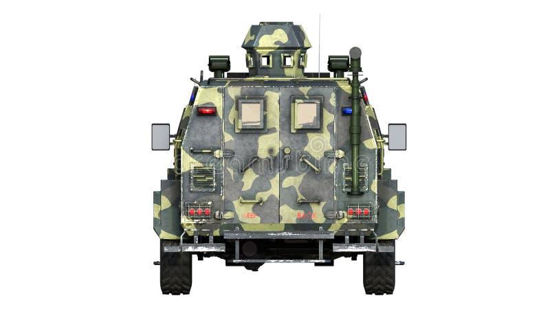 Camion corazzato di SUV, veicolo di esercito a prova di proiettile, automobile militare di camo isolata su fondo bianco, retrovis illustrazione vettoriale