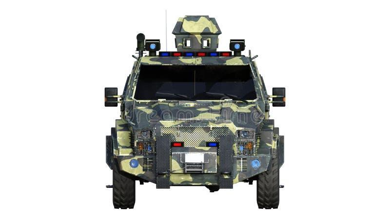 Camion corazzato di SUV, veicolo di esercito a prova di proiettile, automobile militare di camo isolata su fondo bianco, vista fr illustrazione di stock