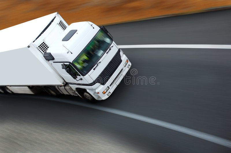 camion courbe de en sortie royaltyfri bild