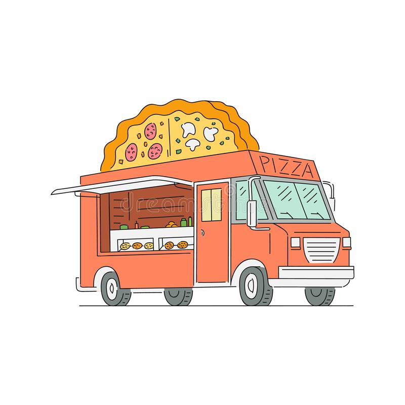 Camion d'aliments de préparation rapide de rue avec la pizza, pizzeria illustration de vecteur