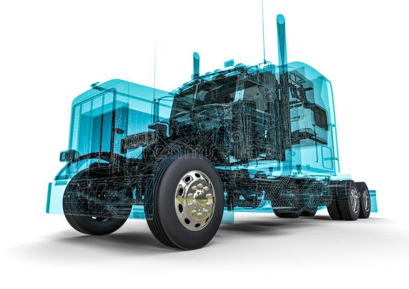 Camion d'Américain de cadre de fil illustration de vecteur