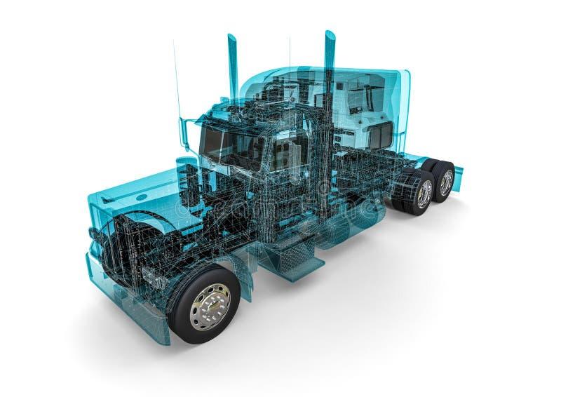 Camion d'Américain de cadre de fil illustration stock