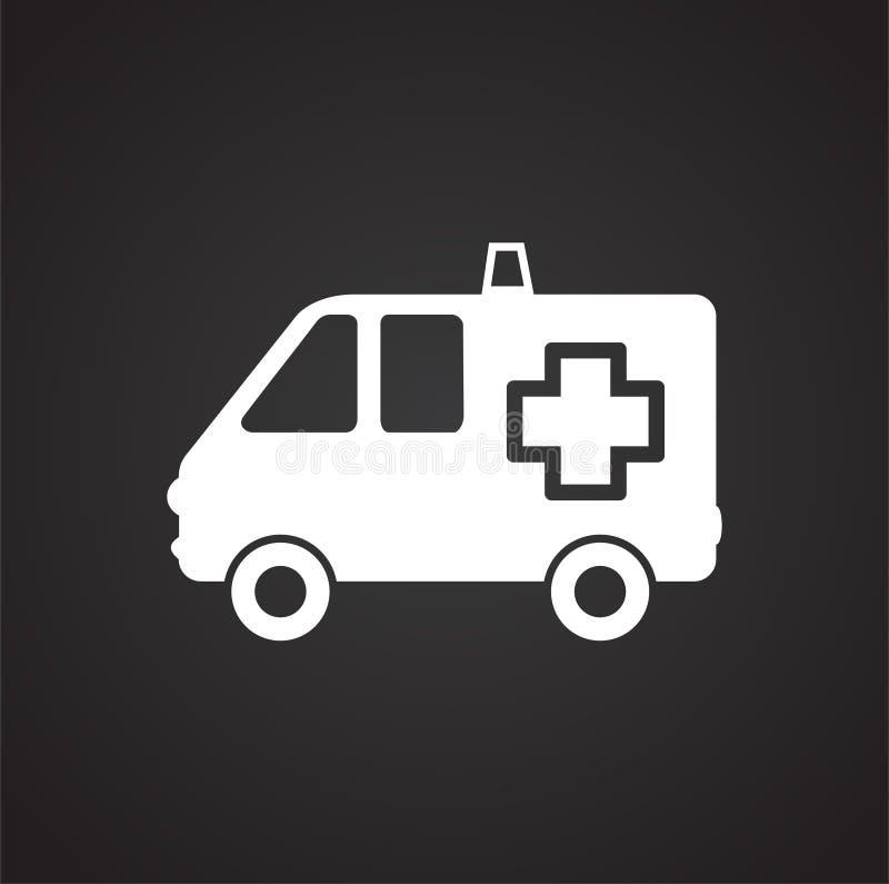 Camion d'ambulance sur le fond noir illustration de vecteur