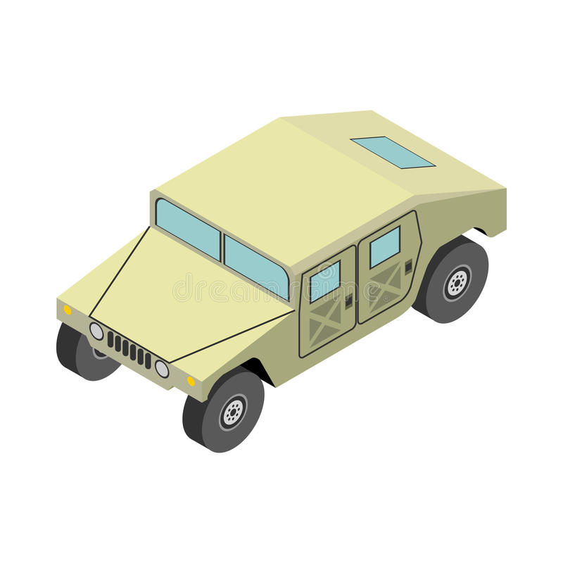 Camion d'armée isométrique sur le fond blanc photographie stock libre de droits