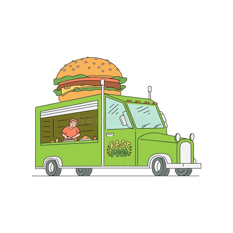 Camion d'hamburger d'aliments de préparation rapide de rue avec un homme de travailleur à l'intérieur illustration de vecteur