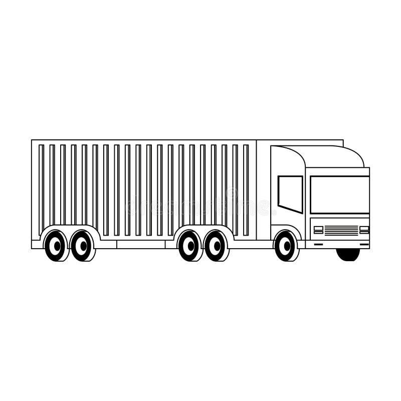 Camion de cargaison avec la remorque de conteneur d'isolement en noir et blanc illustration de vecteur
