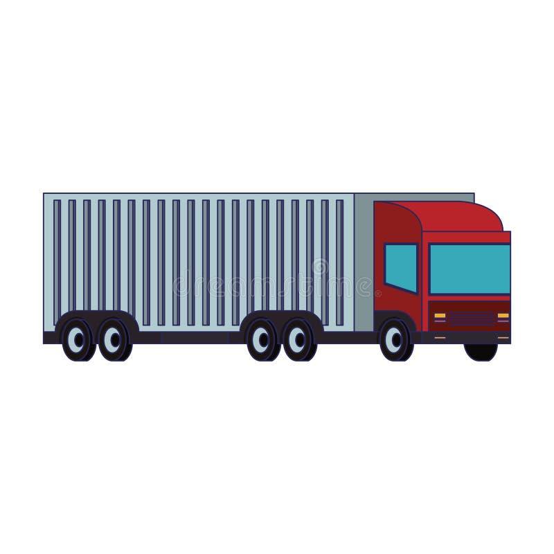 Camion de cargaison avec les lignes bleues d'isolement par remorque de conteneur illustration libre de droits