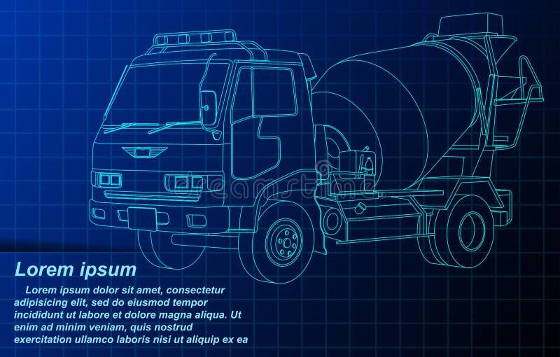 Camion de ciment de croquis d'ensemble de vecteur sur le modèle illustration de vecteur