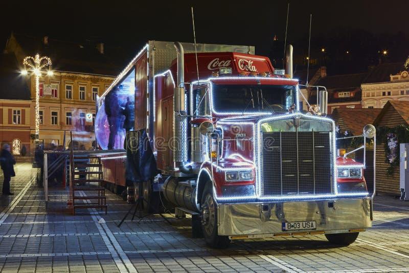 Camion de Coca-Cola de Noël photographie stock libre de droits
