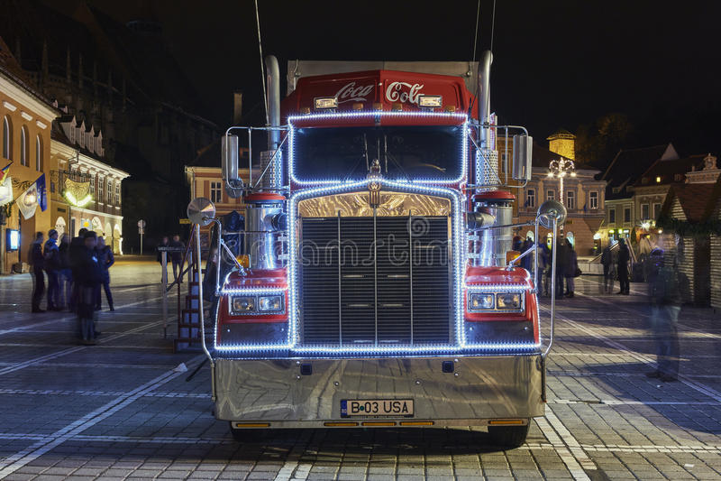 Camion de Coca-Cola de Noël photographie stock