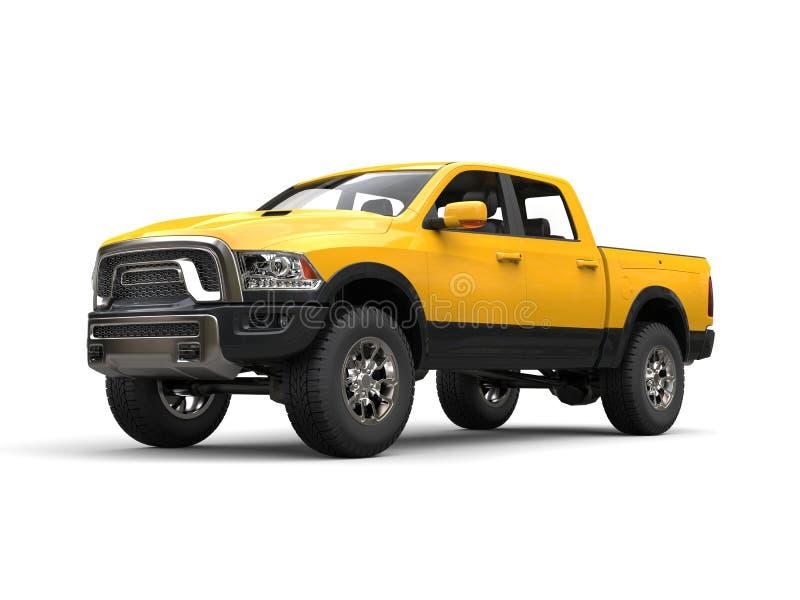Camion de collecte moderne jaune de construction - tir de beauté illustration stock