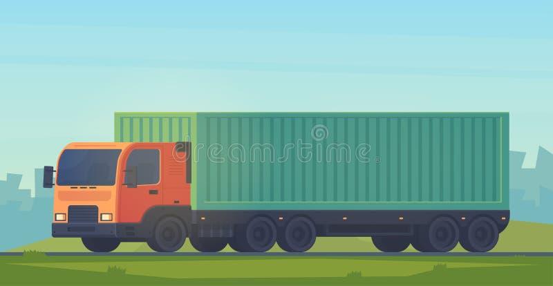 Camion de conteneur avec une semi-remorque pour la livraison des marchandises Service logistique Illustartion plat de style de ve illustration de vecteur