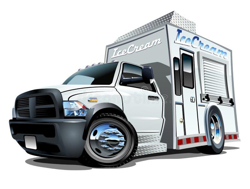 Camion de crème glacée de bande dessinée illustration de vecteur