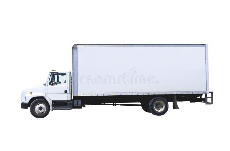 Camion de distribution blanc d'isolement image libre de droits