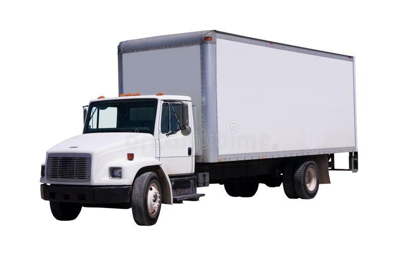 Camion de distribution blanc d'isolement images stock
