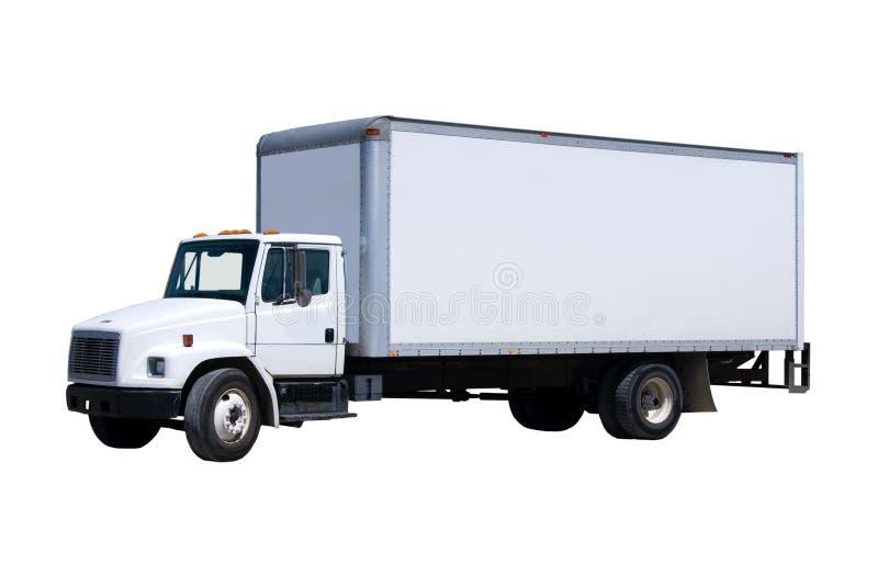 Camion de distribution blanc d'isolement photographie stock libre de droits