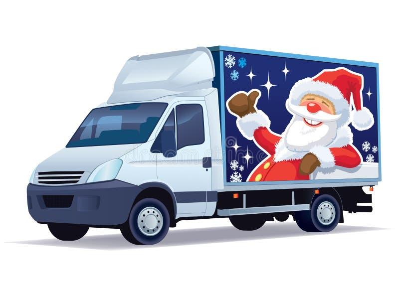 Camion de distribution de Noël illustration stock