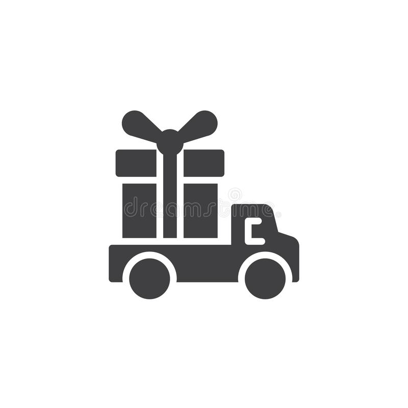 Camion de livraison avec l'icône de vecteur de boîte-cadeau illustration stock