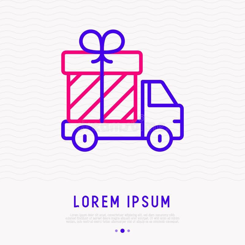 Camion de livraison avec la ligne mince icône de boîte-cadeau illustration libre de droits