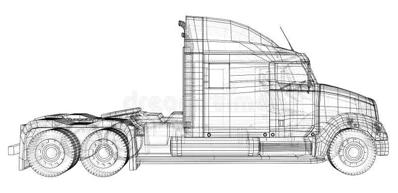 Camion de livraison commercial de cargaison D'isolement Illustration créée de 3d Fil-cadre illustration de vecteur