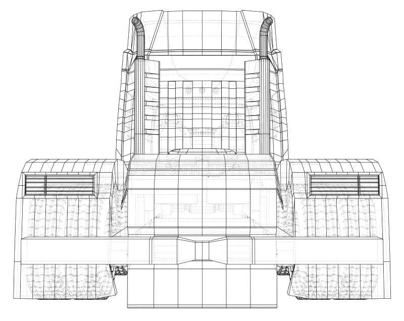 Camion de livraison commercial de cargaison D'isolement Illustration créée de 3d Fil-cadre illustration stock