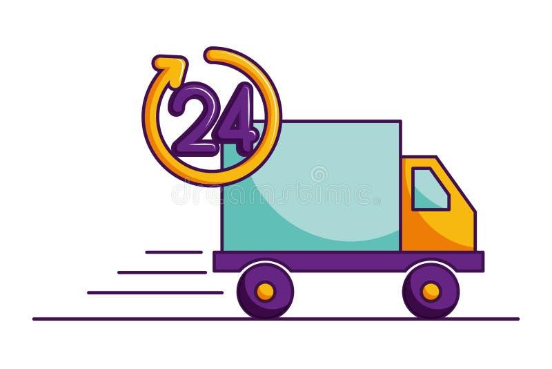 Camion de livraison 24 heures d'image d'isolement par service illustration libre de droits