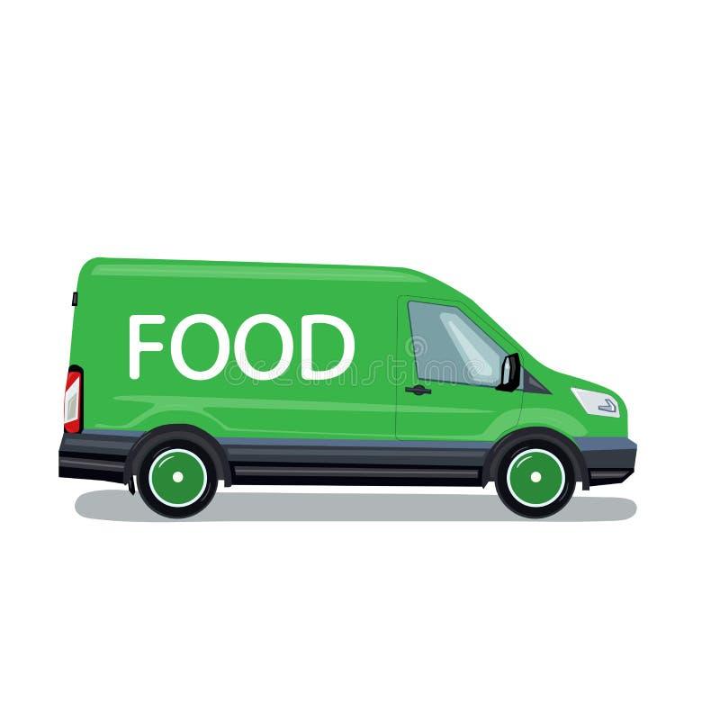 Camion de livraison de nourriture Illustration de vecteur dans le style plat photographie stock libre de droits