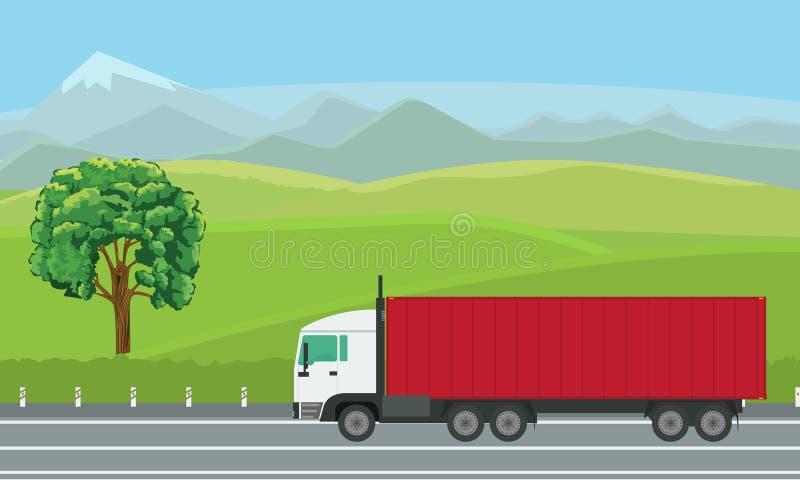 Camion de livraison passant par beau paysage sur la route illustration libre de droits