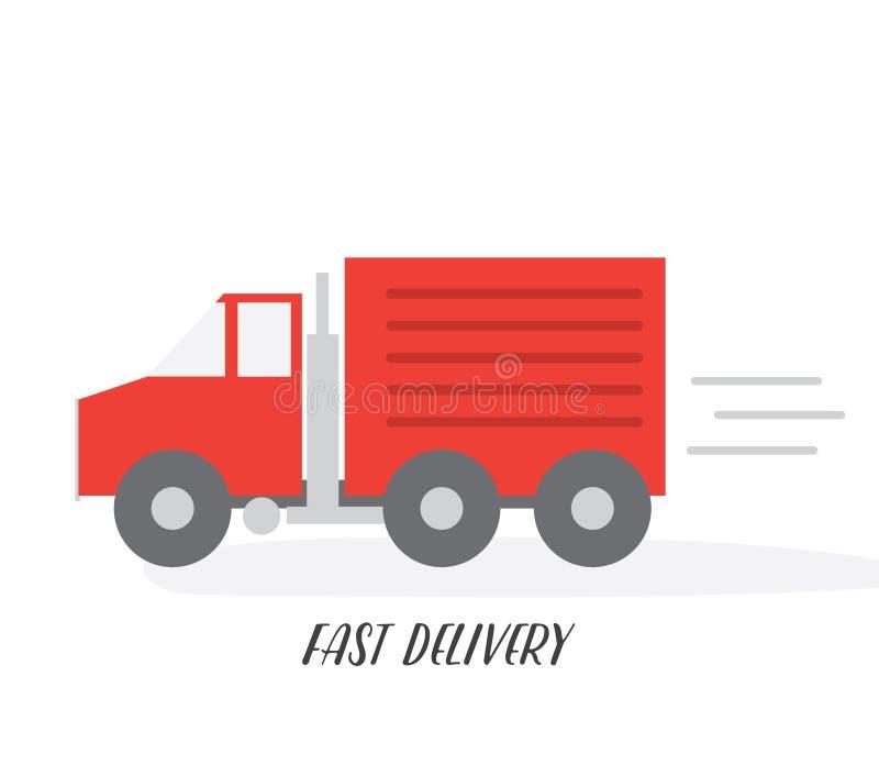 Camion de livraison rouge Illustration plate de vecteur D'isolement sur le fond blanc illustration stock