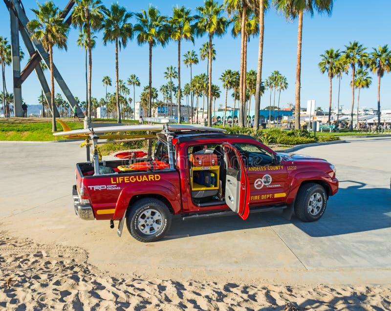 Camion de maître nageur en plage de Venise photos libres de droits