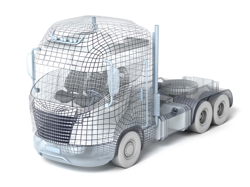 Camion de maille d'isolement sur le blanc illustration de vecteur