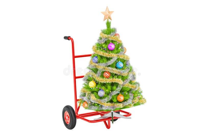 Camion de main avec l'arbre de Noël Le concept de la livraison de cadeau, 3D rendent illustration de vecteur
