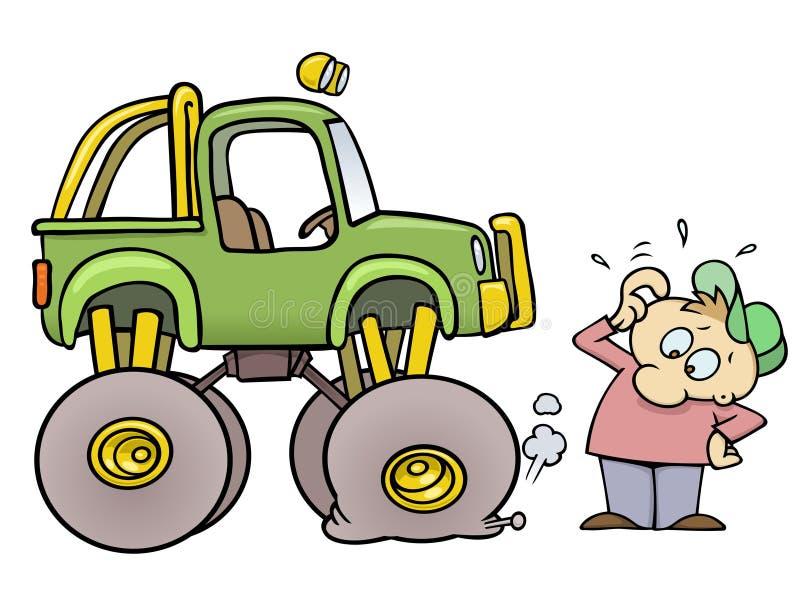 Camion de monstre avec le pneu plat illustration libre de droits