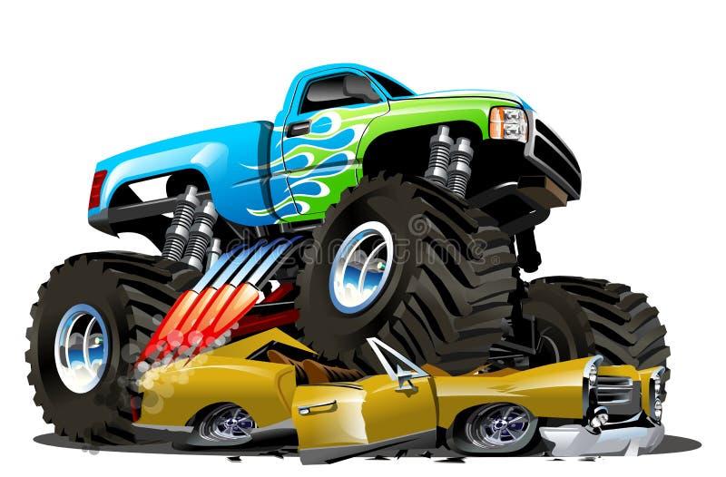 Camion de monstre de dessin animé de vecteur illustration de vecteur