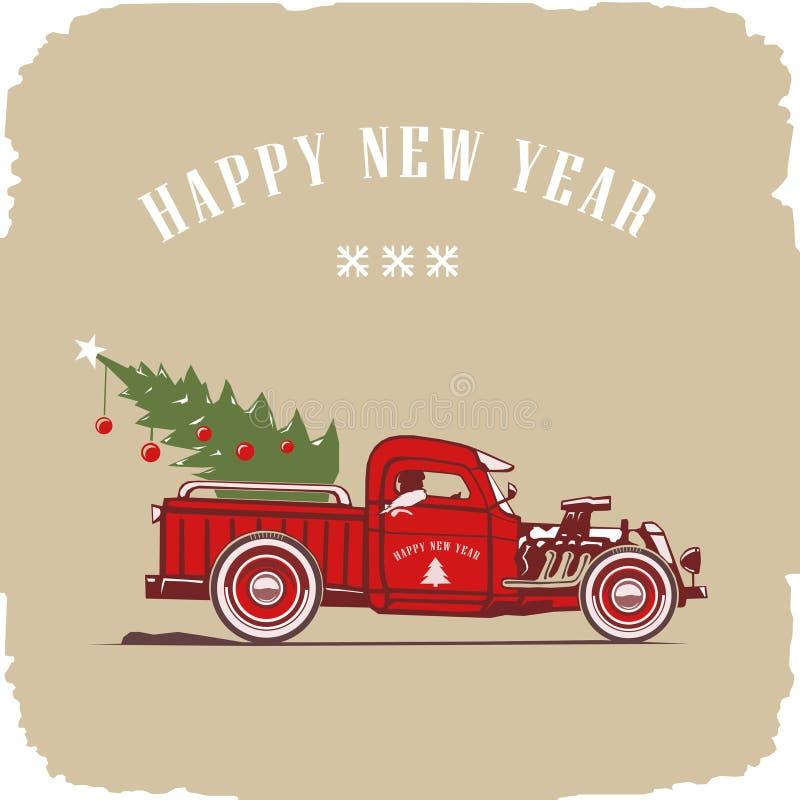 Camion de Noël, vue de côté en couleurs, image de vecteur, vieux style de carte illustration stock